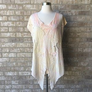 Free People Off White Butterfly Tunic Top S